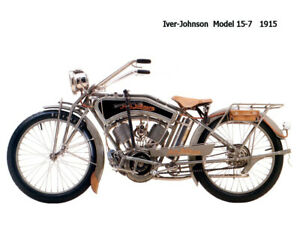 Motorcycle Canvas Picture Iver Johnson Model15 7 1915 Canvas 16x12 inch