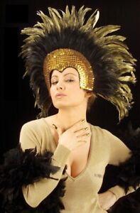 Gold Moulin Rouge Cabaret Mardi Gras Showgirl Burlesque Headdress Fancy Dress