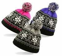 ROCKJOCK WOMEN GIRL WINTER POM POM FAIR ISLE SNOW FLAKE BOBBLE WINTER BEANIE HAT