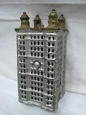 Cast Iron Office Building Dime Still Sky Scraper Bank Toy Penny Coin Tower