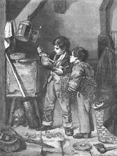RABBITS. The dead rabbit, antique print, 1857