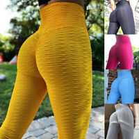 Women's High Waist Yoga Pants Anti-Cellulite Textured Leggings Sports Fitness O2