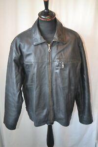 Vintage Barneys black heavy leather highwayman style biker jacket size large