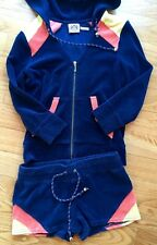 Women Juicy Couture Navy Cotton Hooded Jacket & Short Pant Outfits Set  XS $300