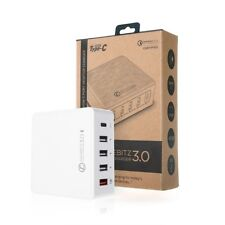 JuicEBitz® 40W x 5 Port FAST USB Mains Charger Compact Desktop with Type C 5V 3A