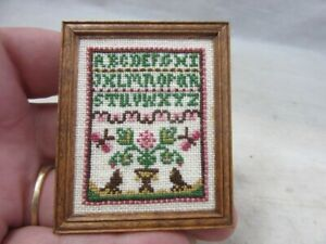 Vintage 1988 DOLL HOUSE miniature Signed, needlepoint sampler