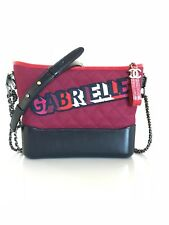 CHANEL Wool Calfskin Quilted Small Gabrielle Hobo Red