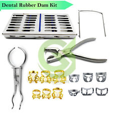 Dental Rubber Dam Kit 12 Clamps Frame Ainsworth Punch Brewer Forceps Withcassette
