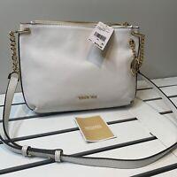 Michael Kors Hangbag Purse White Gold Lillie Crossbody Pebble Leather $278 Authe