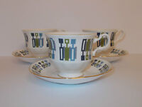 3 x Royal Kent Bone China Cups & 6 x Saucers with Geometric Style Design  Lovely