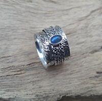 Labradorite Solid 925 Sterling Silver Spinner Ring Meditation Ring Size V892