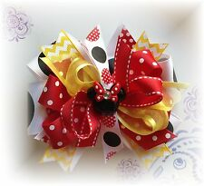 Minnie Mouse Red Yellow Black 5 - 5 1/2 Inch Boutique Hair Bow Choose Clip