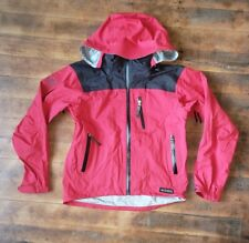 REI ELEMENTS Bright Red Nylon RAIN JACKET Hiking Windbreaker Coat Sz Men's SMALL