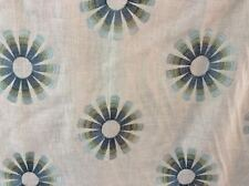 BLUE  GREEN STYLIZED EMBROIDERED FLOWERS CREAM LINEN UPHOLSTERY FABRIC