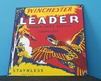 VINTAGE WINCHESTER PORCELAIN LEADER SMOKELESS STAYNLESS SALES AMMO GUN SIGN