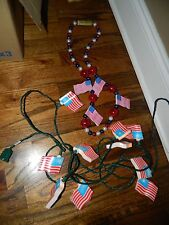 Vintage Patriotic Outdoor American Flag Blow Mold Lights 14' & Blinky Necklace