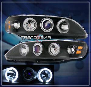 1998-2002 HONDA ACCORD HALO PROJECTOR HEADLIGHTS LAMP BLACK 1999 2000 2001 2/4DR