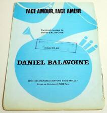 Partition sheet music DANIEL BALAVOINE : Face Amour, Face Amère * 70's Promo