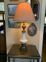 Vintage Stiffel Lamp Large Brass Pottery Mid Century 1960s Signed Label