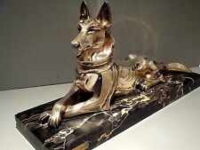 BRONZE ART DECO GERMAN SHEPHERD STATUE on PORTORRO MARBLE H.PETILLY