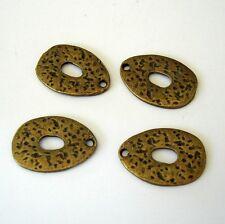 10pcs- Antique Brass Teardrop Pendant Charm Hammered 20x15mm.