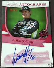 2012 Press Pass FanFare JUSTIN LOFTON SP Auto Certified Racing Autograph # 28/75