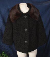 Vintage 50s HALLDON LUSTRELAM Black Faux Persian Lamb Mink Collared Coat Sz S