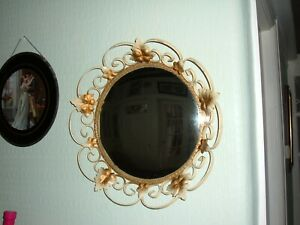 "Vintage Mirror ~ 50s / 60s Round Convex ~ Gold & Cream Metal Leaf Frame, 16"" dia"