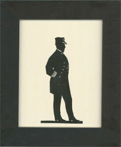 Framed Early 20th Century Cut Paper Silhouette - Man in Uniform IV