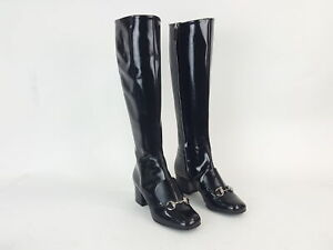Gucci Black Lilian Polished Patent Leather Knee High Boots Shoes Size 35.5 NEW