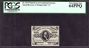 US 5c Fractional Currency Letter 'a' Green Back FR 1239 PCGS 64 PPQ Ch CU