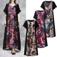 100% coton ZANZEA Femme Robe Manche Courte Col Rond Imprimé Floral Dresse Long
