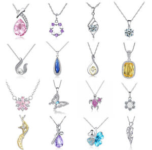 Women fashion silver gold rose  zircon love charm bling crystal pendant Necklace