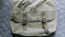Genuine OD M1936 Musette Bag  w/Flap & Closing Straps & Inside Compartments