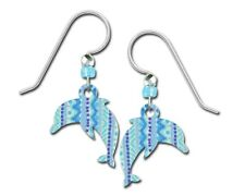Sienna Sky Dolphin Earrings Blue Patterned UV Printed Handmade USA Lightweight