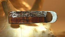 12mm Solid 925 STER Silver Genuine Hawaiian Koa Wood Engraved Scrolls Money Clip