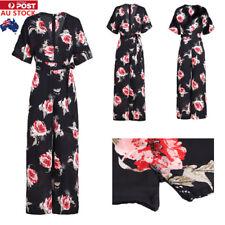 Women V Neck Jumpsuit Floral Print Party Wide Leg Long Trousers Playsuit Romper