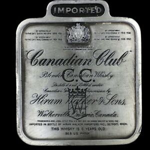 Vintage Canadian Club Whiskey Cc Walker Canada Liquor Drinker Gift Belt Buckle