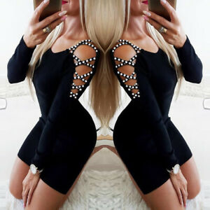 Womens Sexy Long Sleeve Mini Dress Ladies Party Club Cocktail Bodycon Dresses UK
