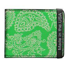 L. Green Paisley Design Bi- Fold Leather Wallet