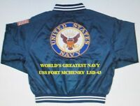 USS FORT MCHENRY  LSD-43   NAVY ANCHOR EMBROIDERED 2-SIDED SATIN JACKET