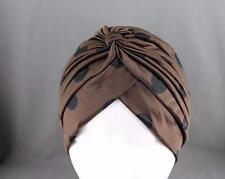 Brown Black dots hair wrap Turban twist pleated ladies head cap cover turband