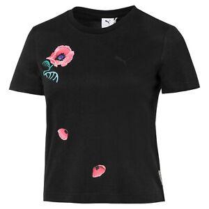 Puma Womens x Sue Tsai Tee Black Graphic Crew Neck Active Wear T-Shirt 595252-01