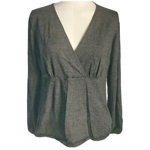 Boden Women's Ladies Top Jumper Grey Size UK 18 100% Wool Knit Popover V-Neck
