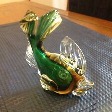Vintage Murano Seguso Big Lip fish Sommerso Amber and Green in Clear Glass