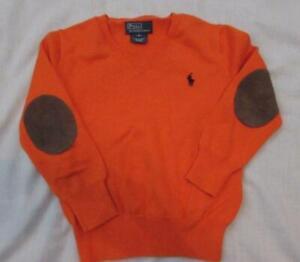 POLO RALPH LAUREN boys 4 orange cotton vneck sweater suede elbow patches
