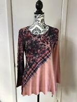 Unity World Women's Blouse Shirt Size Small Pink Floral Pullover w Long Sleeves