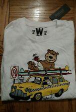 Who.A.U New York T-Shirt Tee Shirt California NY White Bear Taxi Cab xs Xsmall