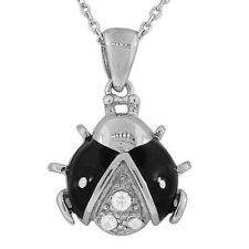 Sterling Silver Black Enamel Ladybug Crystals CZ Womens Pendant Necklace