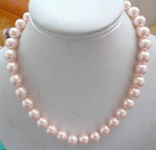 Beautiful 10mm round natural pink South Sea pearl shell necklace 18""